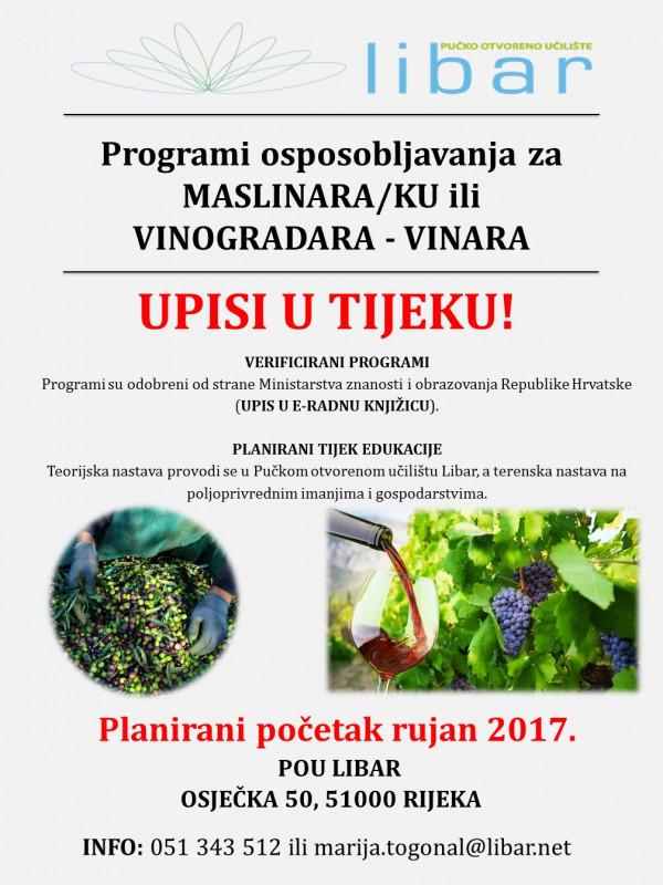 Program osposobljavanja za poslove maslinara/ke i vinogradara/ke - vinara/ke