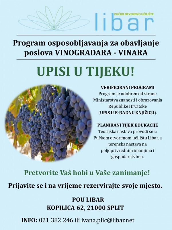 Program osposobljavanja za poslove vinogradara/ke - vinara/ke