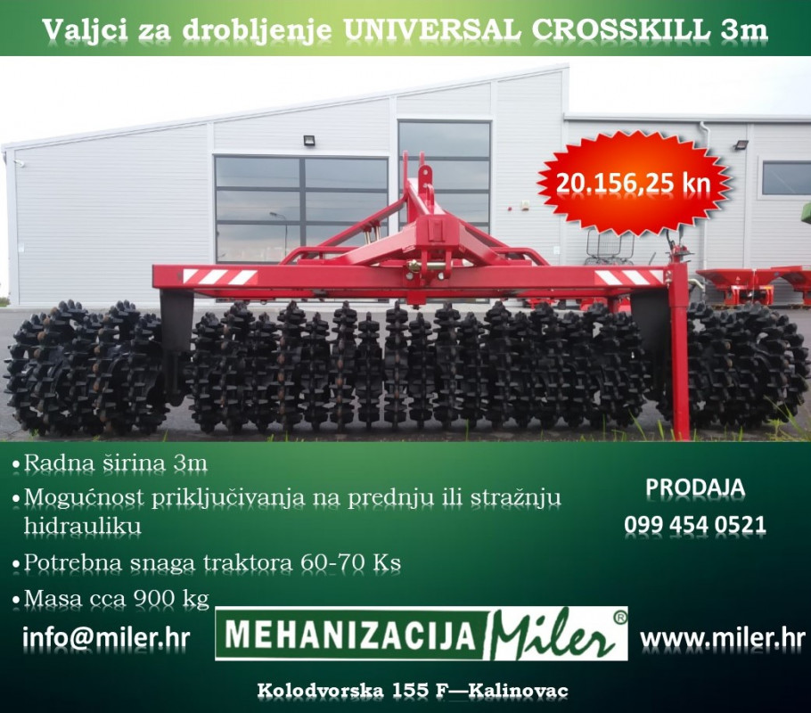 UNIVERSAL CROSSKILL 3 m Valjci za drobljenje