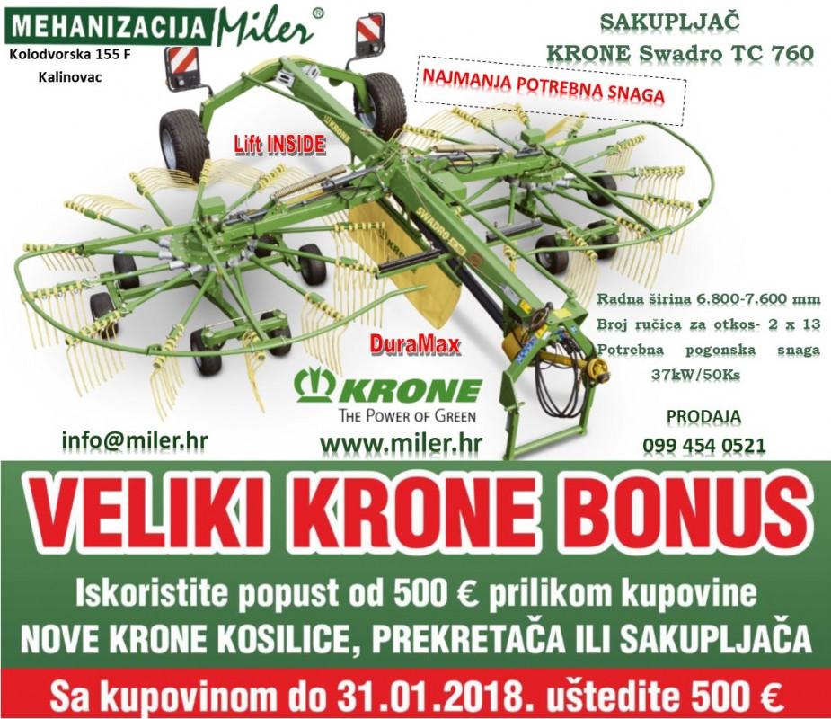Sakupljač KRONE Swadro TC 760 uz KRONE BONUS od 500€