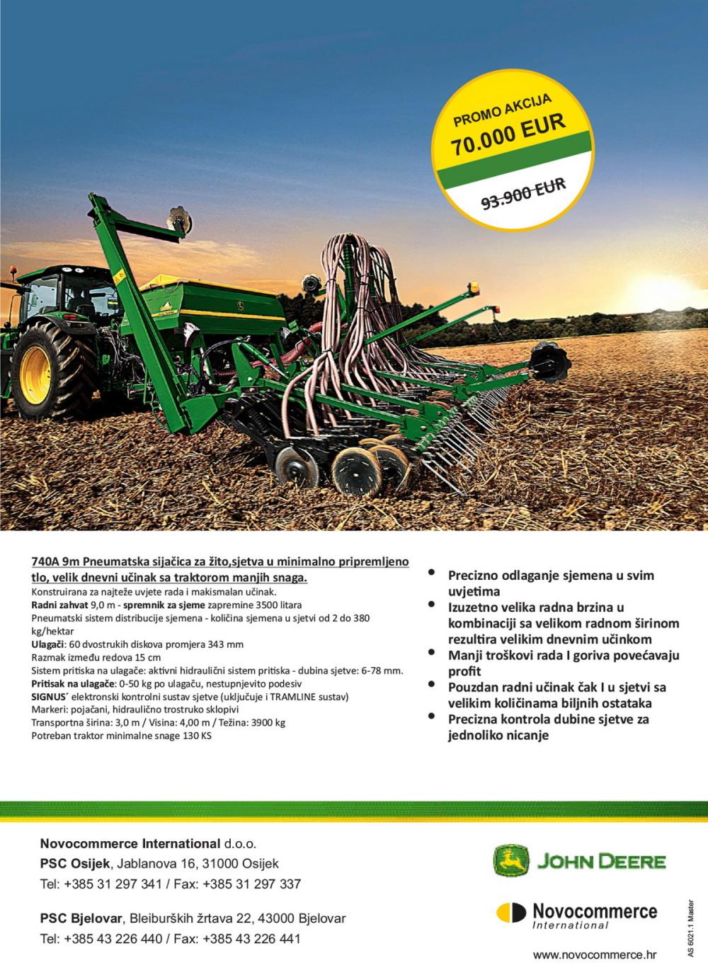 Pneumatska sijačica za žito 740A 9m