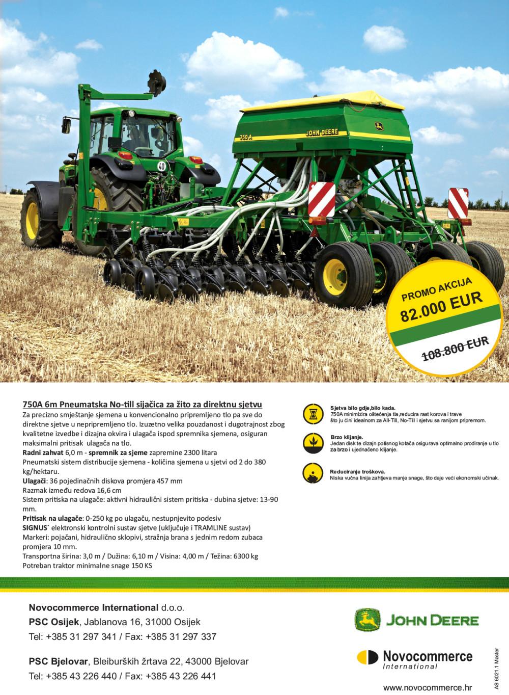 Pneumatska sijačica za žito No-till 750A 6m